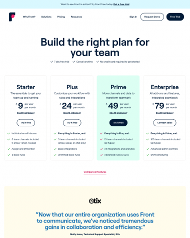 front-pricing-page