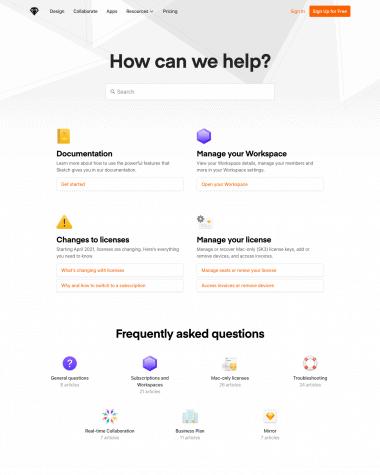 sketch-FAQ-page