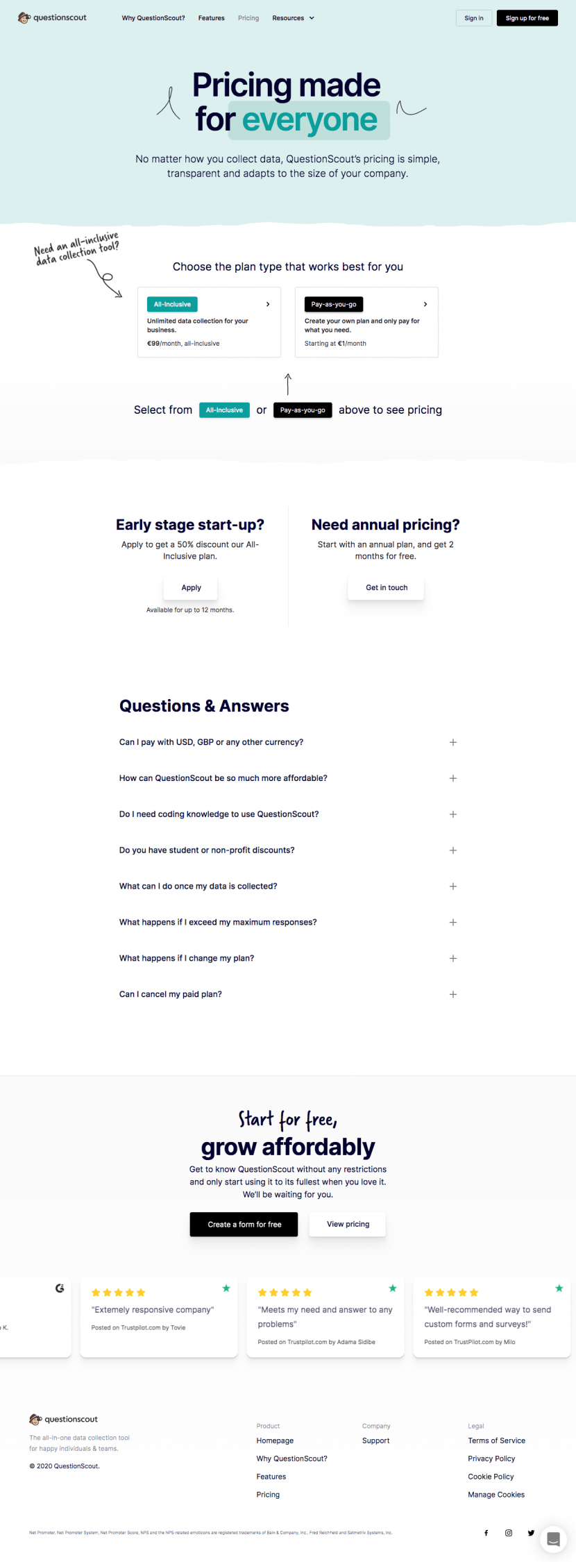 questionscout-pricing-page