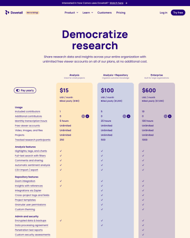 dovetail-pricing-page